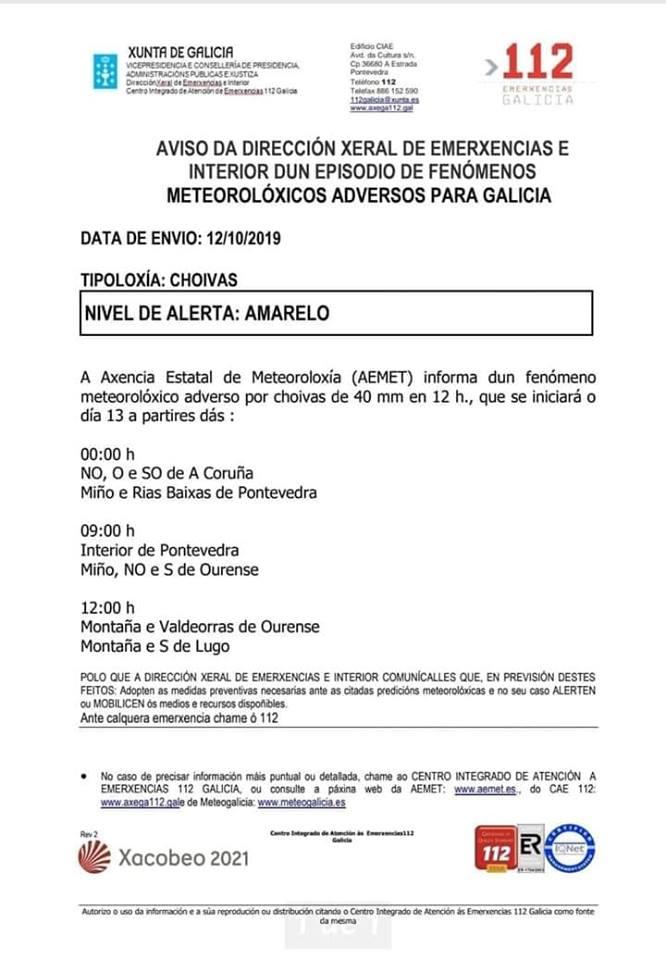 Aviso Xunta de Galicia por lluvias
