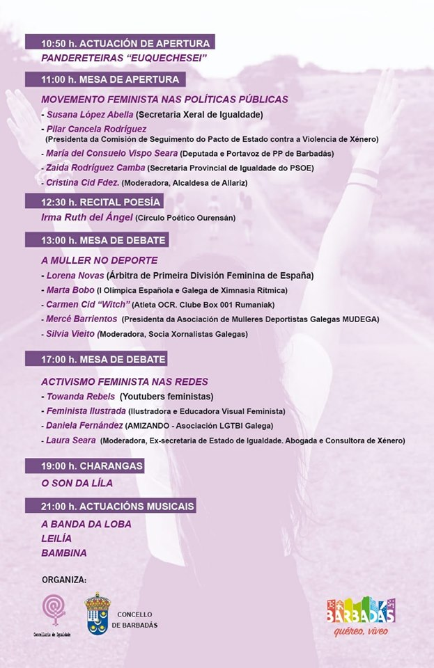 Programa de la II Romaría feminista de Barbadás 2019