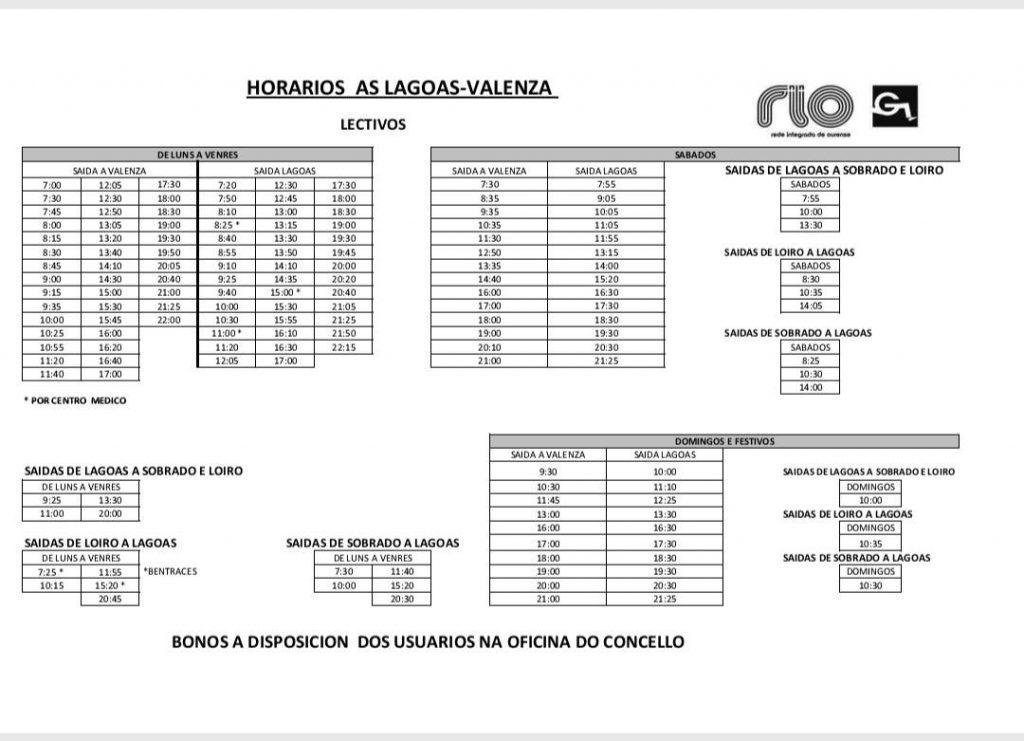 Horarios autobuses A Valenzá - As Lagoas